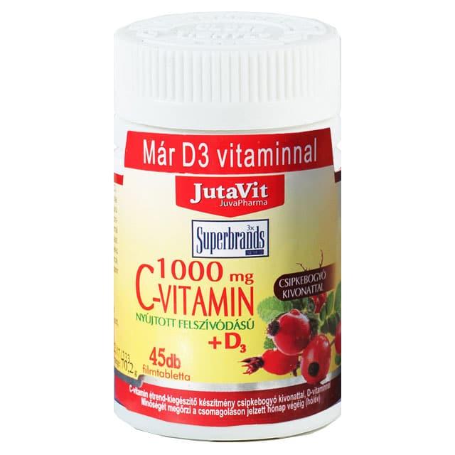 Jutavit C-vitamin 1000mg + D3-vitamin filmtabletta - 45db