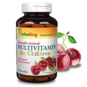 Vitaking Gyerek Multivitamin meggyes rágótabletta - 90db