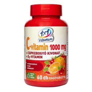 1×1 Vitamin C+D C-vitamin 1000mg D3-vitamin 500NE + csipkebogyó rágótabletta – 60db