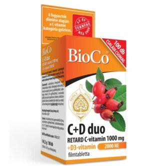 BioCo C+D Duo Retard C-vitamin 1000mg + D3-vitamin 2000NE tabletta - 100db