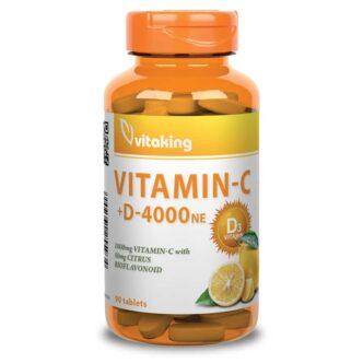 Vitaking C+D C-vitamin 1000mg + D3-vitamin 4000NE tabletta – 90db