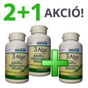 Nutrilab 3 Alge – Spirulina, Chlorella és Vörös alga kapszula 2+1 akció – 3x120db