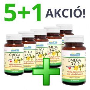 Nutrilab Omega 3-6-9 kapszula 5+1 akció – 6x90db