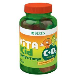 Béres VitaKid C+D C-vitamin 50mg + D3-vitamin 400NE gumivitamin – 50db
