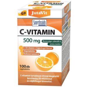 JutaVit C-vitamin 500mg+D3+csipkebogyó kivonat narancs ízű rágótabletta – 100db