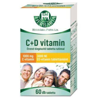 Herbária C+D C-vitamin 1000mg + D3-vitamin 3000NE filmtabletta – 60db