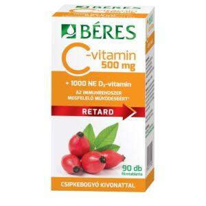 Béres C+D Retard C-vitamin 500mg + D3-vitamin 1000NE csipkebogyó kivonattal filmtabletta - 90db