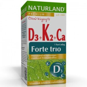 Naturland D3-vitamin + K2-vitamin + Kalcium forte trió tabletta - 30db