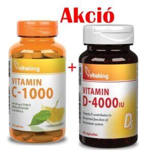 Vitaking C-vitamin 1000mg Bioflavonoid 90db + D-4000NE kapszula 90db Akció