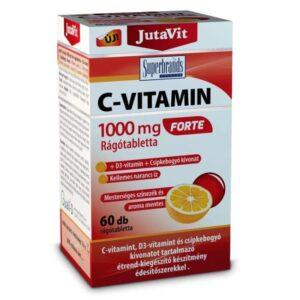 JutaVit C-vitamin 1000mg Forte+D3+csipkebogyó kivonat narancs ízű rágótabletta - 60db
