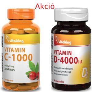 Vitaking C-Vitamin 1000mg+Csipkebogyó 100db + D-4000NE kapszula 90db Akció