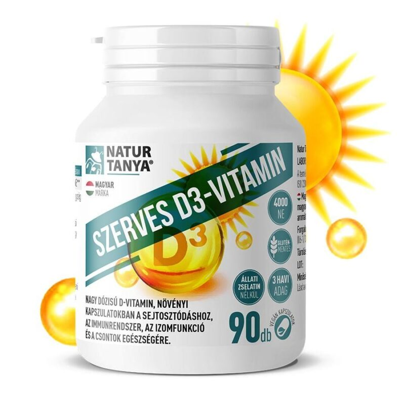 Natur Tanya Szerves D3-vitamin 4000NE, E-vitaminnal kapszula - 90db
